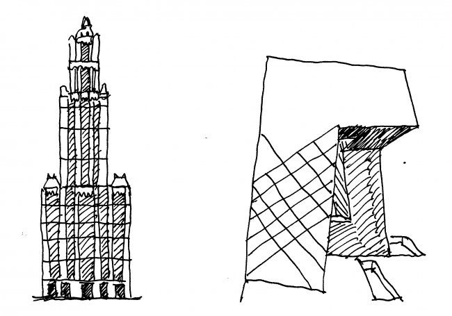 Left: Balanced form reinforces tectonic stability, Woolworth Building, New York City, 1913, 792 feet or 241 meters. Right: Cantilevered form generates anxiety, Giant Underpants Building, Beijing, 2008, 768 feet or 234 meters. Drawing by Nikos Salingaros
